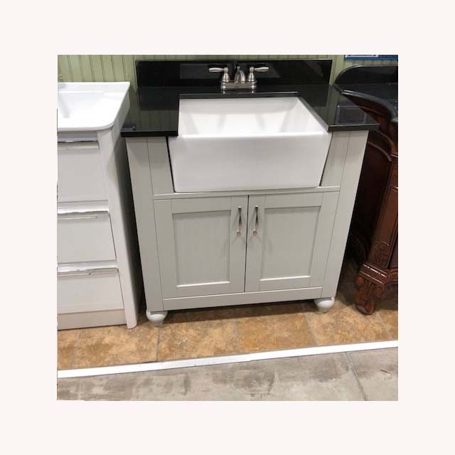 30inch Bathroom Vanity Cabinet With Deep Ceramic Basin And Black Marble Top