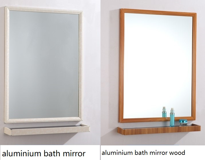 Aluminium Alloy Wall Bathroom Mirror With Mirror Shelf Different Color