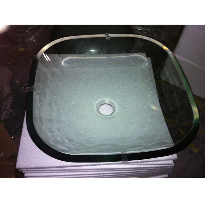 Modern glass vessel sink above counter bathroom vanity basin bowl square clear for Above counter bathroom sinks glass