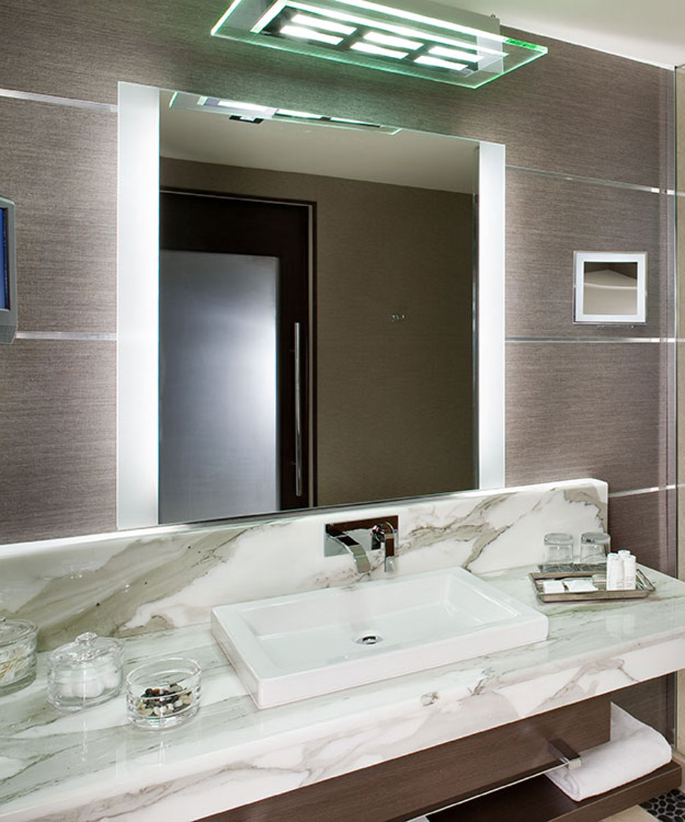 Lighted Mirrors For Bathrooms Modern: Modern Bath Led Mirror With Two Sides Frosted Area