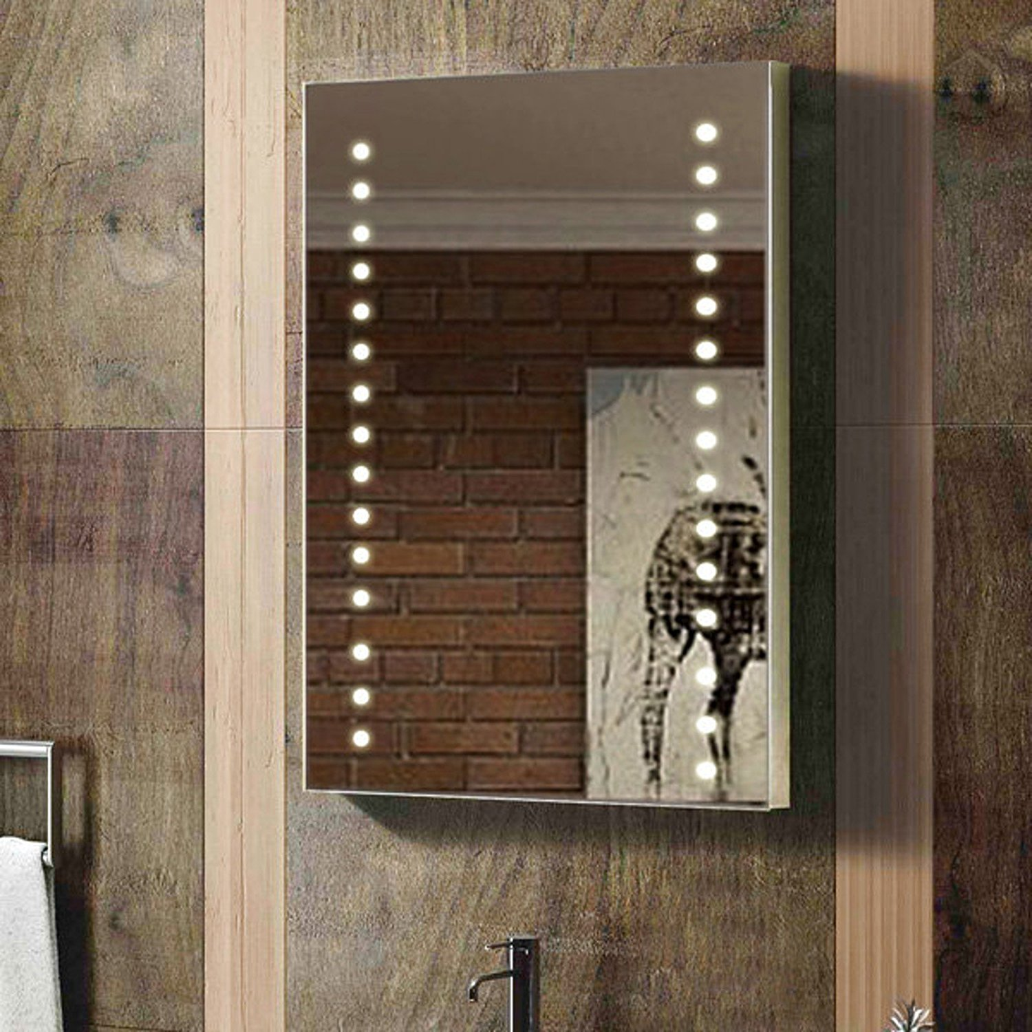 rectangular bathroom led mirror with PVC back case complete back board