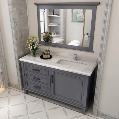 120cm Grey Bathroom Vanity Cabinet With One Door And Three Drawers