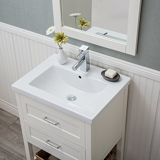 24 inch White Single Bathroom Vanity Drawers with Porcelain Top