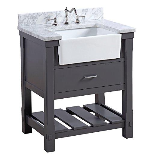 30 inch Bathroom Vanity Carrara Marble Counter top Gray ...
