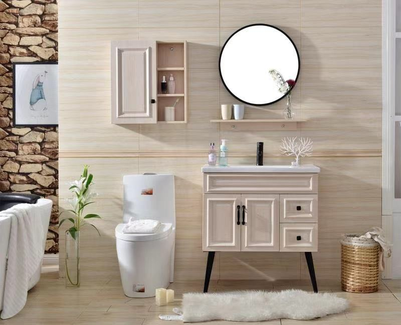 new design bathroom vanity with long legs and round frame ...