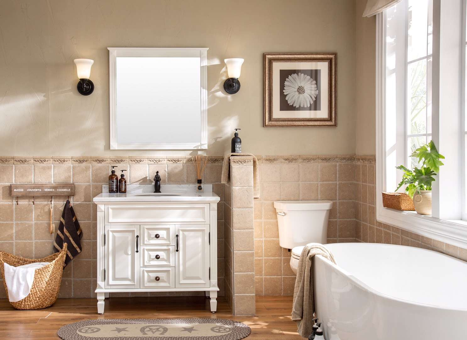 40inch solid wood light brown bathroom vanity with